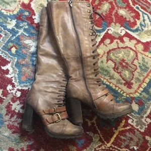 Brown under the knee boots